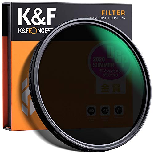 K&F Concept 72mm Variable ND Filter Adjustable Fader Neutral Density ND2 - ND32 Filter, NO Spot X Black X Issue, MRC 18-Layer, Ultra Slim, Waterproof