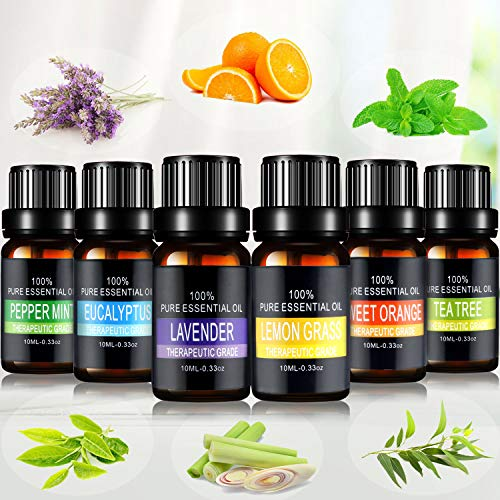 Essential Oils Set, joylink Aromatherapy Essential Oils Gift Set 100% Pure Diffuser Oils Therapeutic Grade Oils Kit for Women/Men,Essential Oils of Skin and Hair Care… (6 Scent)