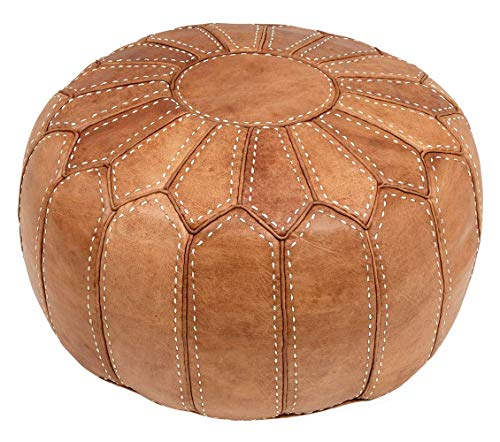 ESSENCE OF MOROCCO Moroccan Pouffe Pouf Footrest Footstool Ottoman Large Natural Tan Real Leather Handmade Hand-stitched (COVER ONLY)