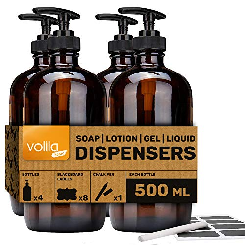 Soap Bottle Dispensers For Homemade Lotions and Soaps With Large Capacity for Bath and Home Hygiene and Hand Sanitiser (500ml-4 Pack)