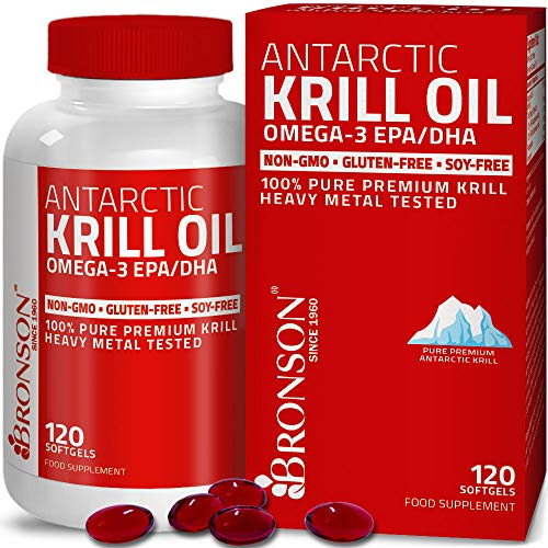 Antarctic Krill Oil with Omega-3s EPA, DHA, Astaxanthin and Phospholipids – 100% Pure Premium Krill Oil - Heavy Metal Tested, Non GMO - 120 Softgels