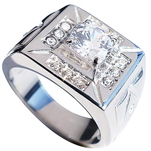 Men's 1.85ct Stainless Steel Cubic Zirconia Ring. 10.4gr Total Weight. Stamped 316. Never Tarnish. Centre Stone 6.5mm Surrounding With 3 Lab Diamonds On Each Side.