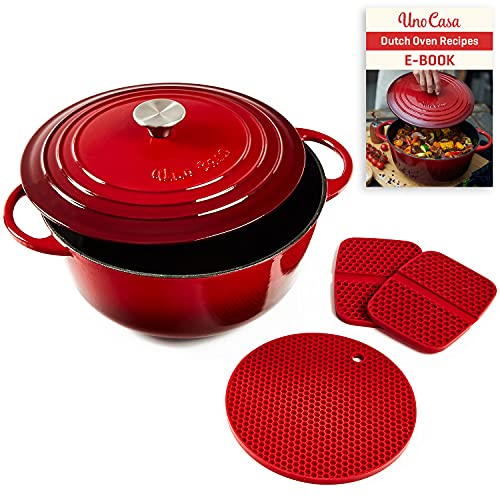 Uno Casa Enameled Cast Iron Dutch Oven with Lid - 6 Quart (5.7 litres) Enamel Coated Cookware Pot, Long-Lasting, Naturally Non-Stick Enamel Dutch Oven with Silicone Handles and Mat