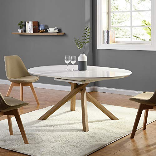 Cherry Tree Furniture GRENCHEN Round to Oval 4 to 6-Seater White High Gloss Extendable Dining Table