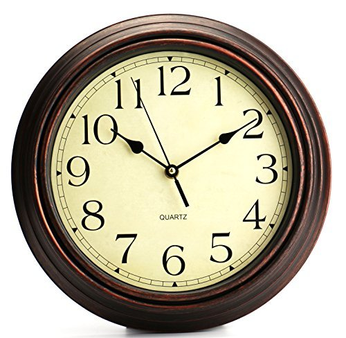 Tebery 12 Inch Wall Clock, Round Silent Classic Clocks, Retro Non Ticking Quartz Clock,Vintage Arabic Number Wall Clocks for Living Room Kitchen Bedroom Home Office