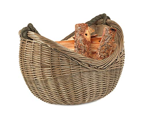 Wrenbury Log Basket Wood Basket Antique Willow Rope Handle Carrying   Fireside Accessories Wicker Log Basket   Willow Basket with Handle Rope   Log Baskets for Wood