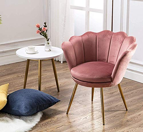 Wahson Velvet Accent Chair for Bedroom with Gold Plating Metal Legs, Leisure Armchair for Living Room/Cafe/Vanity (Dark Pink)