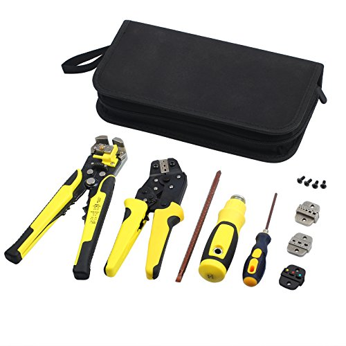 Neoteck 4 in 1 Wire Stripper Crimper Kit Wire Stripping Crimping Tool Cable Cutter Self-Adjustable Ratcheting Cable Cutting Terminals Pliers Kit