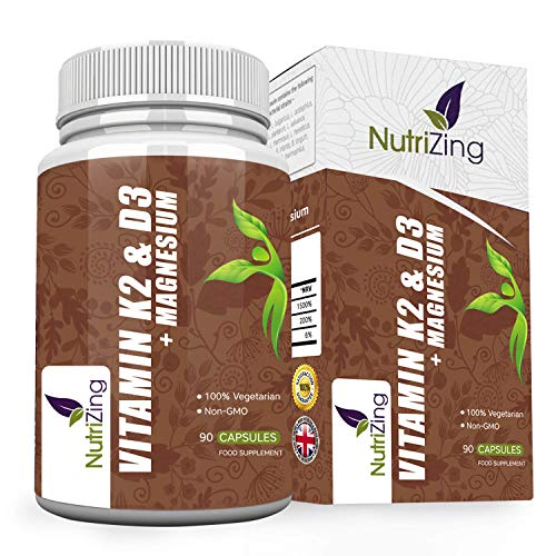 Vitamins D3 K2 Capsules - 3000IU Vitamin D3, 150mcg VIT K2 (MK-7) - Made in UK by NutriZing - Supports Maintenance of Immune System & Contributes to Normal Bones