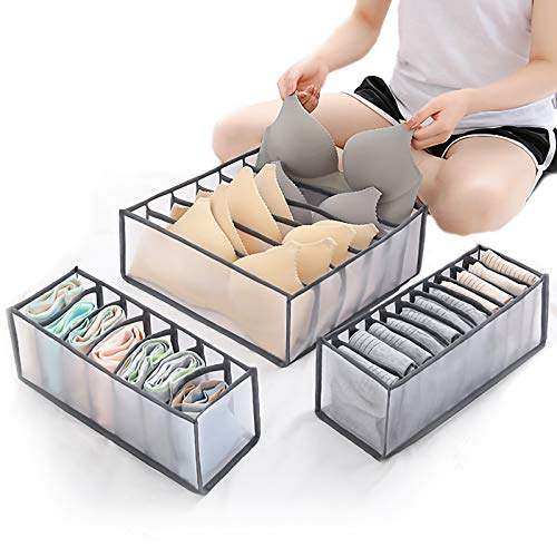 Daohexi Underwear Drawer Organiser Cabinet Organizers Wardrobe Closet Drawer Divider Storage Boxes for Bras Socks Neck Ties Scarves and Handkerchiefs for Save Time and Space(Set of 3)