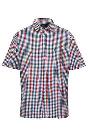 Mens Champion Short Sleeve Shirt Doncaster Casual Checked Shirt (Large, Blue)