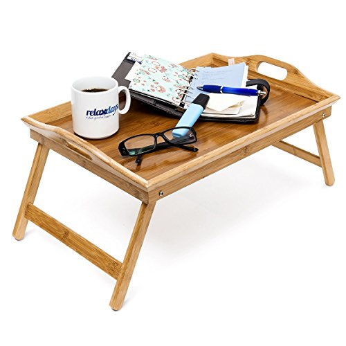 Relaxdays Bamboo Folding Serving Tray, HxWxD: ca 25 x 52 x 33 cm, for Breakfast In Bed, with Handles and Foldable Legs, Natural Brown