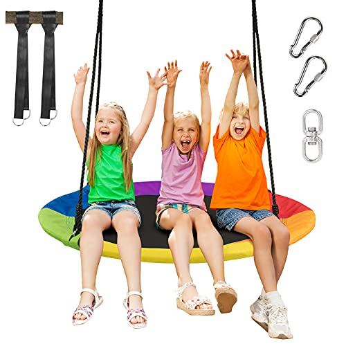 GYMAX Swing Seat with 120-180CM Adjustable Rope, Oxford Fabric Tree Swing, Hanging Chair for Kids and Adults, Holds up to 300kg