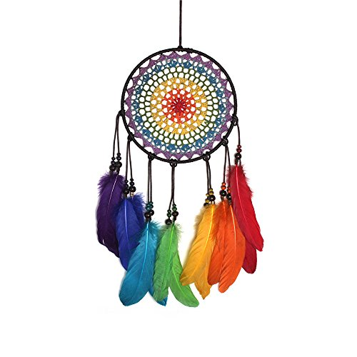 Dreamcatcher, Dream Catchers Colorful Rainbow Dreamcatcher Handmade Ornaments Wind Chimes Rainbow Feather Dream Catchers for Gifts Wedding Ornament and Home Decorations