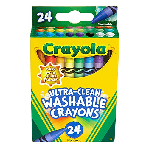 Crayola Washable Crayons, Multi-Colour, 24 Count (Pack of 1)