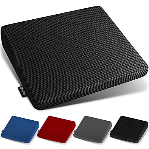 Medipaq - Memory Foam Seat Cushion for Office Chair, Posture Correction, Pain Relief - Height Boost - Orthopaedic Car Seat Cushion with Washable, Breathable 3D Mesh - with Anti Slip Bottom - Black
