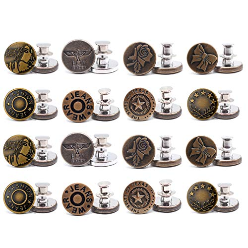 16 PCS Perfect Fit Instant Button, Adjustable Jeans Button Instant, Buttons Adds Or Reduces an Inch to Any Pants Waist in Seconds Sewing Crafts DIY Clothes