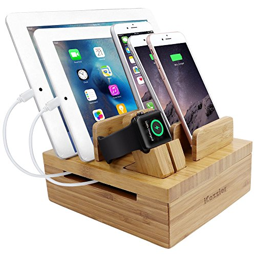 iCozzier Bamboo 5-slot Removable Tablet Phone Stand Holder Desktop Organizer for Watch, Phone, Pad, Watch Stand Cord Organizer Multi-Devices Docking Station