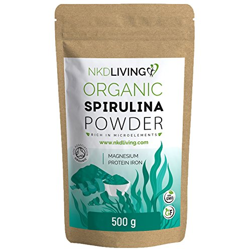 500g Organic Spirulina Powder, Soil Association Organic Certified, Tested for Heavy Metals, Micro-Organisms and Over 500 Pesticides