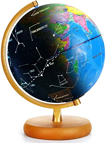 LED Constellation Globe Rewritable 3in1 Educational Toys, Light Up World Globe,Illuminated Night View Globe lamp for Kids Home Décor and Office Desktop- 9inch(Contains pen and Cleaning Cloths)
