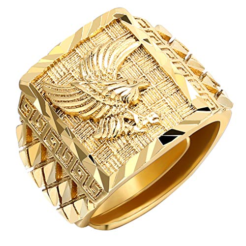 Timesuper Punk Rock Eagle Men 's Ring Luxury Gold Color Resizeable To 7-11 Finger Jewelry Never Fade