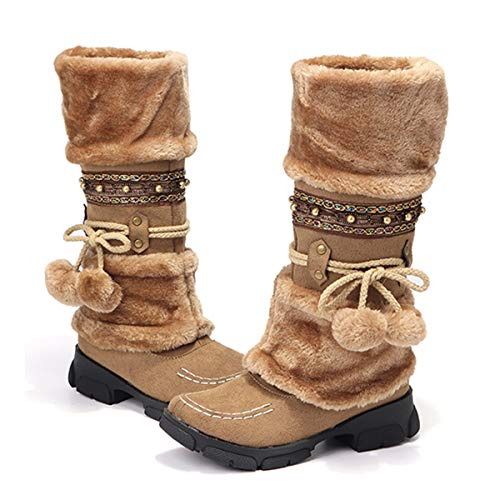 gracosy Womens Knee Boots Winter Snow Ankle Boots Fur Lined Warm Long Boots Flat Heel Slip on Mid Calf Warm Knight Boots Rhinestone Non Slip Girls Lace up Knee High Ankle Riding Boots Brown 7 UK