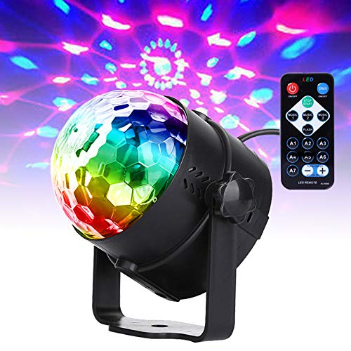 U`king Music Controlled Disco Ball Flash Lights, RGB Disco Light Effects, 7 Colours Party Lamp with Remote Control for Family Dances Bars Karaoke Wedding Performance Club Christmas (1pcs)