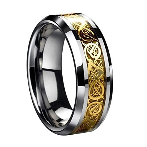 Men Ring - TOOGOO(R) Dragon Scale Dragon Pattern Beveled Edges Celtic Rings Jewelry Wedding Band For Men Gold 8