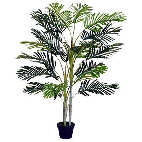 Outsunny 150cm(5ft) Artificial Palm Tree Decorative Indoor Faux Green Plant w/Leaves Home Décor Tropical Potted Home Office