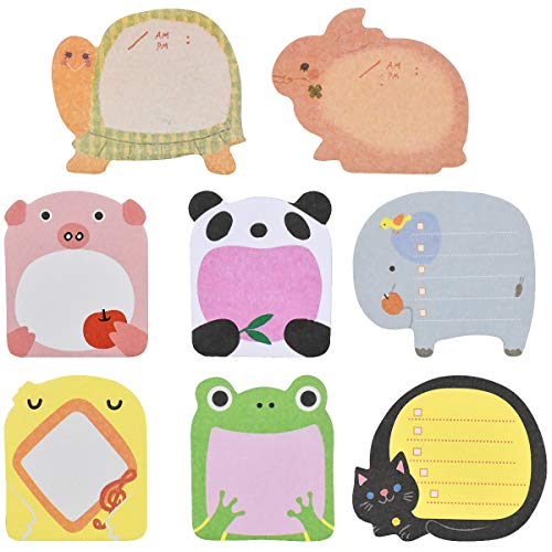 NATUCE Sticky Notes, 8 Pads Cute Animals Sticky Notes, Novelty Super Sticky Notes for School, Office Memo, Party Bags Filler, Pupils Children Gifts