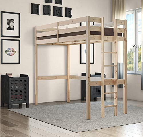 Strictly Beds and Bunks - Memphis High Sleeper Loft Bunk Bed with Sprung Mattress (15 cm), 3ft Single