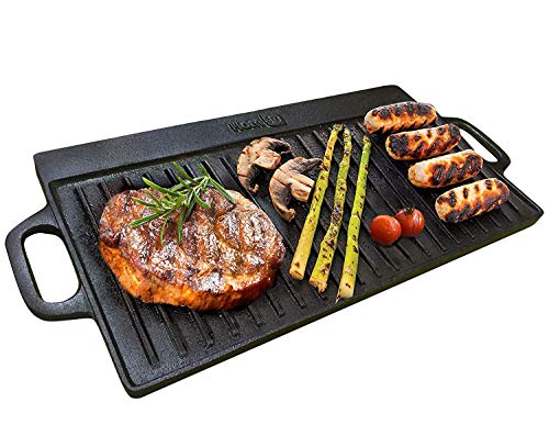 Homiu Griddle Pan Plate Cast Iron Reversible Double Sided with Non-Stick Ridged and Flat Surfaces and Integral Drip Tray for Stoves and Grills
