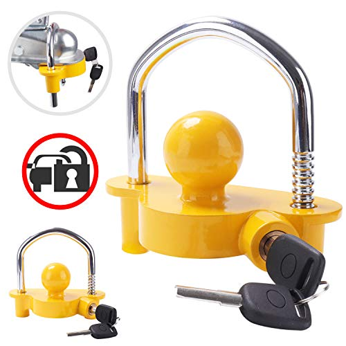 Tevlaphee Trailer Ball Lock Hitch Coupler Towing Lock Adjustable Easy Installation Heavy Duty Steel and Aluminum Alloy Base for Towing Caravan Trailer Security with 2 Keys Yellow