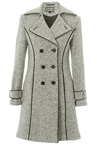 Busy Women's White and Black Tweed 3/4 Coat 14