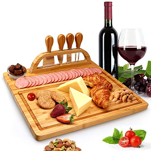 Bamboo Cheese Board Set, Cheese Tray with Slate Board and Tool Holder, Includes 4 Cheese Knives with Wooden Ceramic Handles, 1 Wooden Serving Tray for Meat,Fruits and Cheese, Ideal Wedding Gifts.