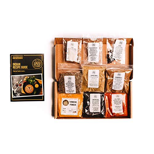 Spice Kitchen 9 Indian Spice Collection, individual spice refill packs, including Award Winning, amazingly fragrant Garam Masala