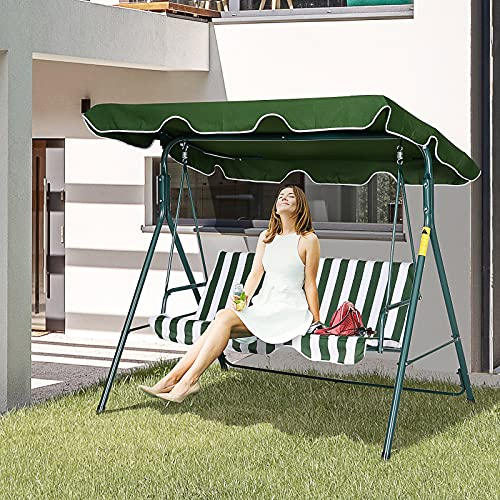 Outsunny 3 Seater Canopy Swing Chair Heavy Duty Outdoor Garden Bench with Sun Cover Metal Frame - Green