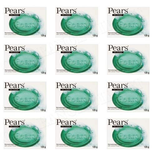 Pears Soap - Oil Clear with lemon flower extracts. Authentic Transparent Green Soap - Set of 12bars, 125g each (Pack of 12)