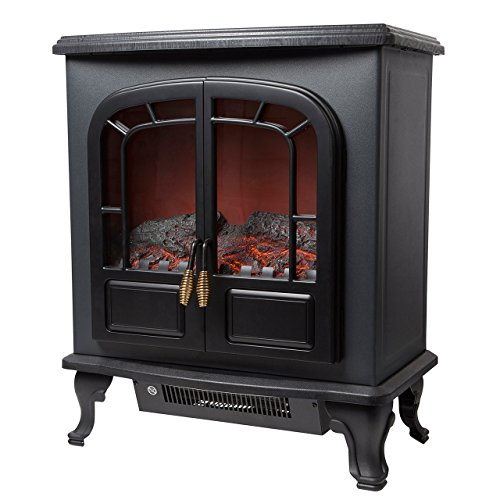 Warmlite WL46019 Wingham 2-Door Portable Electric Stove Heater with Realistic LED Log Fire Flame Effect, Adjustable Thermostat, Overheat Protection, 2000 W, Black