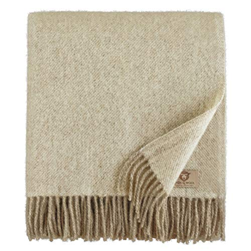 Linen & Cotton Soft Thick Wool Throw/Blanket Columbus - 100% Pure New Zealand Wool, Beige/Natural (140 x 200cm) Travel/Warm Plaid for Sofa Bed Couch Settee Bedspread Single Double Lambswool