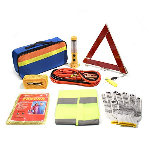 TourKing 9pcs Roadside Assistance Emergency Kit, Car Emergency Tool Auto Safety Kit for European Travel with Tow Rope,Jumper Cables,Ideal Accessory for Truck,SUV
