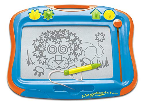 TOMY Classic Megasketcher, High Accuracy Magnetic Drawing Board, 4 Stamps Included, Scribble and Doodle Board for Kids, Large Writing Pad with Magic Eraser, Travel Games For Kids Aged 3 Years +