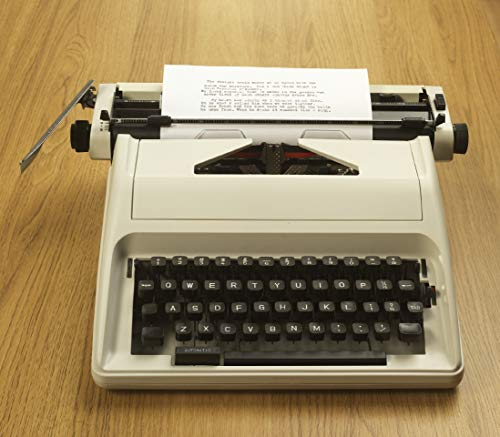 Traditional Portable Manual Typewriter with Case Cream One Size