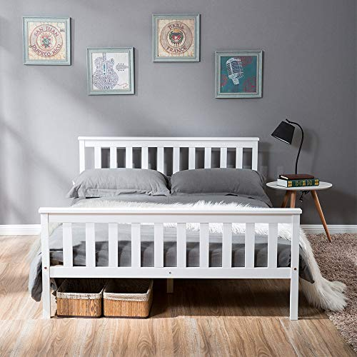 Bed Wooden Frame White Solid Pine for Adults, Kids, Teenagers (135*190cm)
