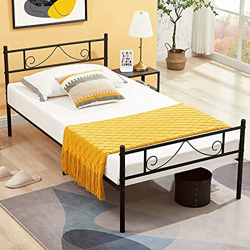 Aingoo Single metal Bed Frames 3ft Beds Frame with Strong Headboard and Footboard for Children Adults Black