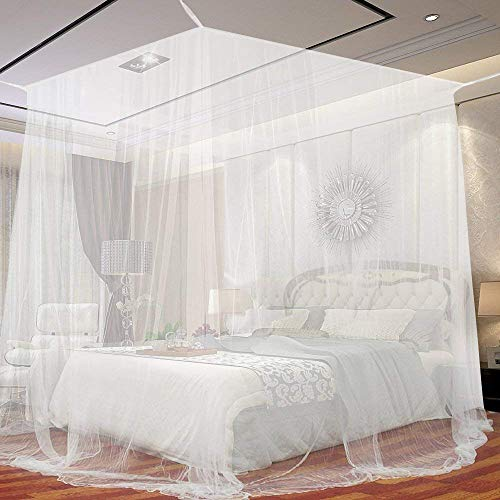 Vercico White Mosquito Net Four Corner Bed Canopy Bug Mesh Canopy Fit for Double Bed Canopy Largest Screen Netting Curtains Indoor or Outdoor Use
