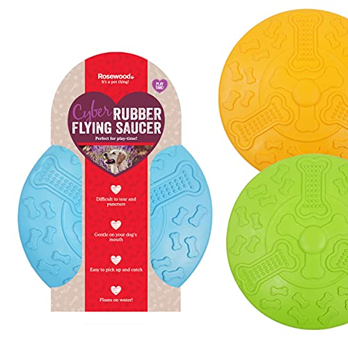 Rosewood Cyber Rubber Flying Saucer Dog Frisbee, Large, assorted