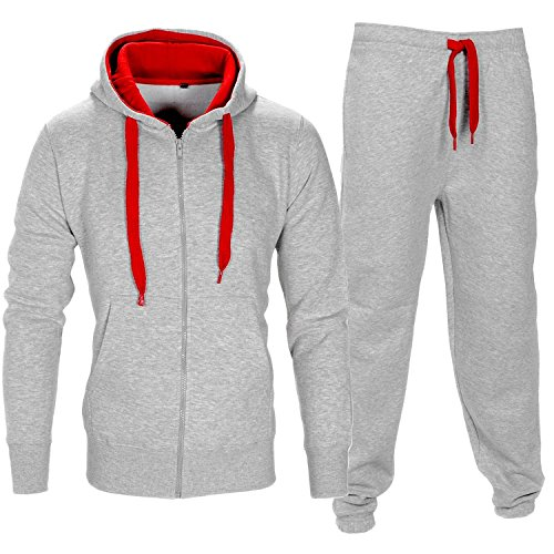 Parsa Fashions ® Mens Tracksuit Set Full Sleeve Fleece Zipper Hoodie Top Bottoms Jogging Joggers Gym CONTRAST And PLAIN Small to XX-Large (Medium, Grey - Red)