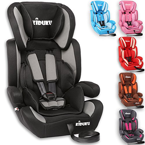 KIDUKU® Safety Car Seat   Booster Seat   3 in 1   for Childs and Babys from 9-36 kg (20 lbs - 80 lbs) or 1-12 Years   Convertible, universal   approved to ECE R44/04   Group 1 + 2 + 3   black/grey