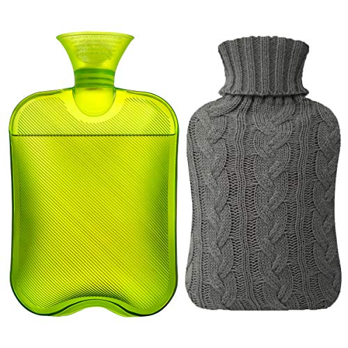 Samply Transparents 1.8L Hot Water Bottle with Knited Cover, Green